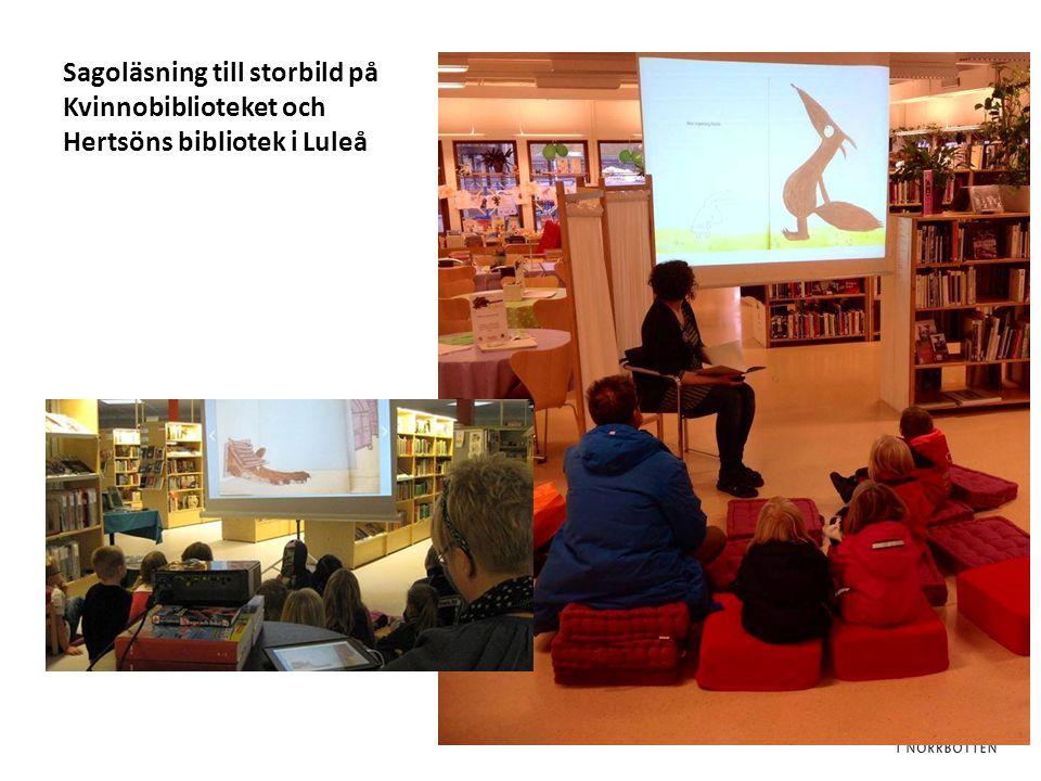Sagoläsning till storbild på Kvinnobiblioteket och Hertsöns bibliotek i Luleå