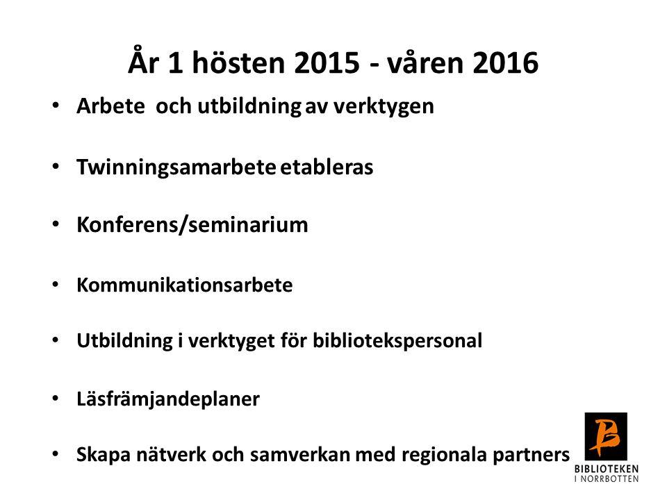 Arbete och utbildning av verktygen Twinningsamarbete etableras Konferens/seminarium Kommunikationsarbete Utbildning i verktyget för bibliotekspersonal