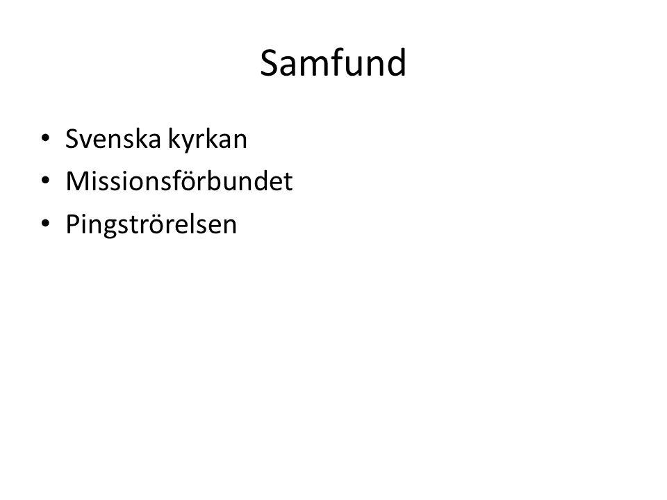 Samfund Svenska kyrkan Missionsförbundet Pingströrelsen