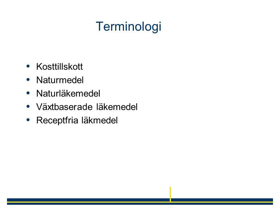 Terminologi  Kosttillskott  Naturmedel  Naturläkemedel  Växtbaserade läkemedel  Receptfria läkmedel