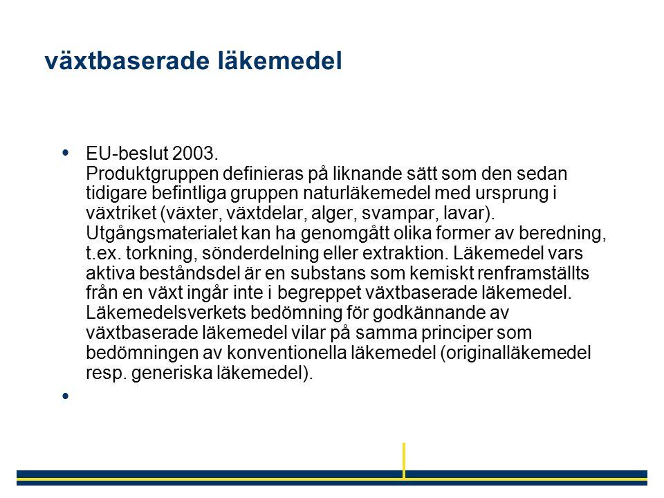 växtbaserade läkemedel  EU-beslut 2003. Produktgruppen definieras på liknande sätt som den sedan tidigare befintliga gruppen naturläkemedel med urspr