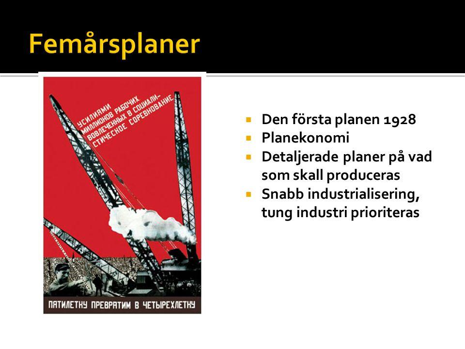  Den första planen 1928  Planekonomi  Detaljerade planer på vad som skall produceras  Snabb industrialisering, tung industri prioriteras