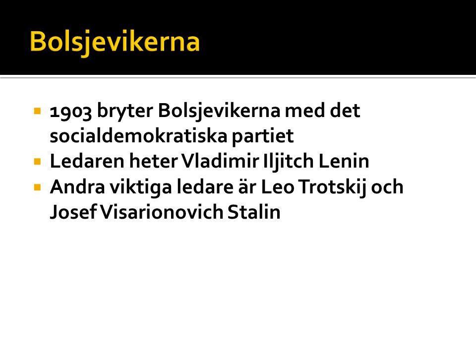  1903 bryter Bolsjevikerna med det socialdemokratiska partiet  Ledaren heter Vladimir Iljitch Lenin  Andra viktiga ledare är Leo Trotskij och Josef Visarionovich Stalin