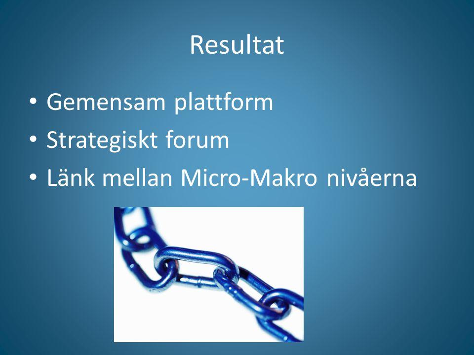 Resultat Gemensam plattform Strategiskt forum Länk mellan Micro-Makro nivåerna