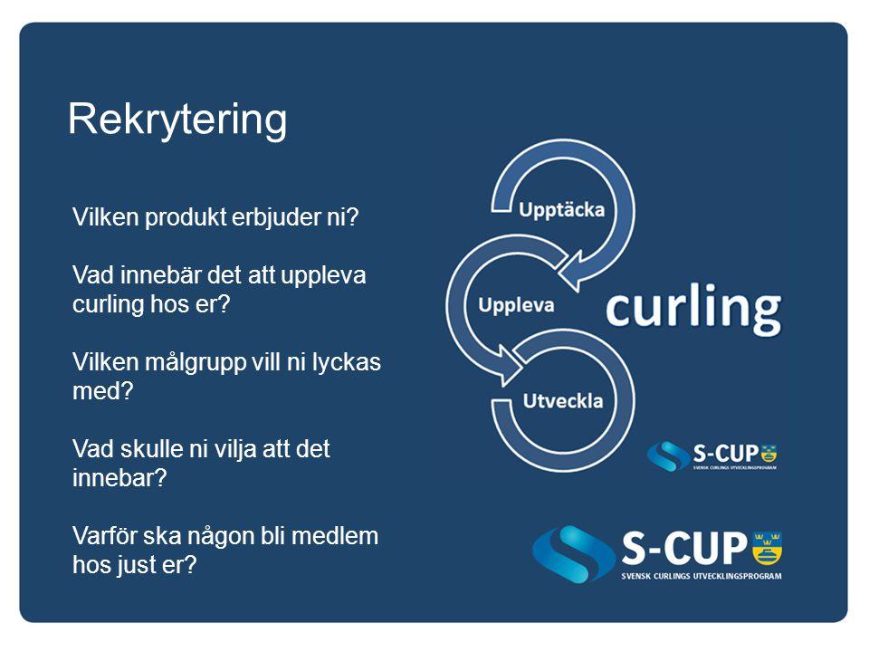 Rekrytering Vilken produkt erbjuder ni? Vad innebär det att uppleva curling hos er? Vilken målgrupp vill ni lyckas med? Vad skulle ni vilja att det in