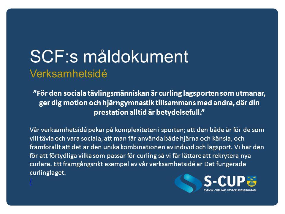 SCF:s måldokument Värdegrund Svensk curling är en öppen och modern idrott som präglas av glädje, gemenskap, sportmannaskap och nyfikenhet. Vår värdegrund innebär att hjälpa varandra är en grundpelare i att utvecklas och ha kul inom curling.