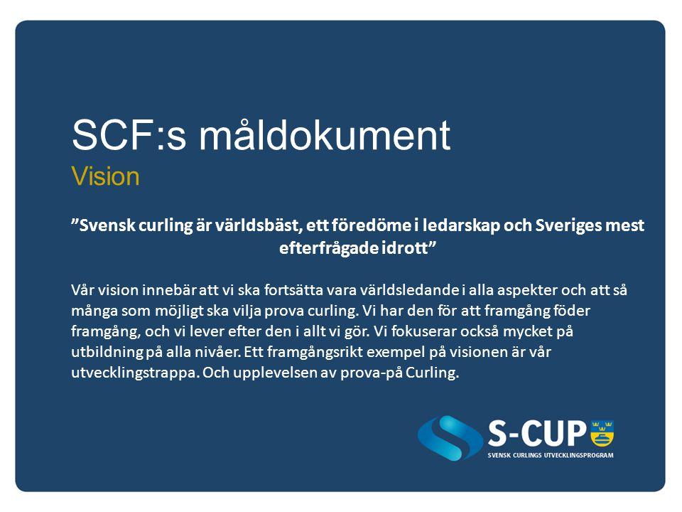 SCF:s måldokument Vision Svensk curling är världsbäst, ett föredöme i ledarskap och Sveriges mest efterfrågade idrott Vår vision innebär att vi ska fortsätta vara världsledande i alla aspekter och att så många som möjligt ska vilja prova curling.