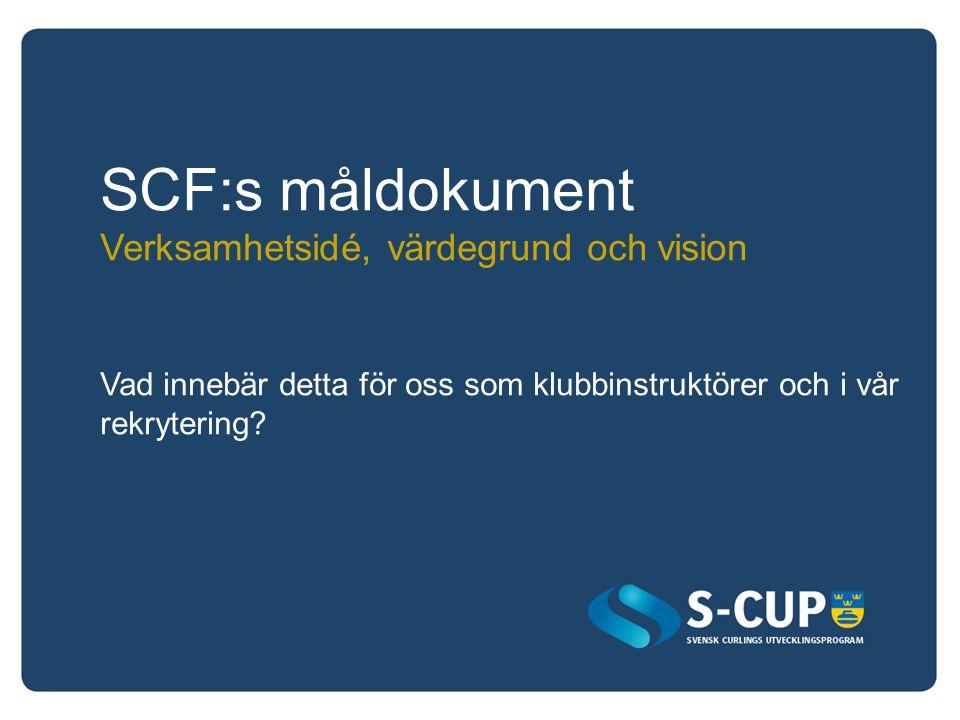 SCF:s måldokument Verksamhetsidé, värdegrund och vision Vad innebär detta för oss som klubbinstruktörer och i vår rekrytering