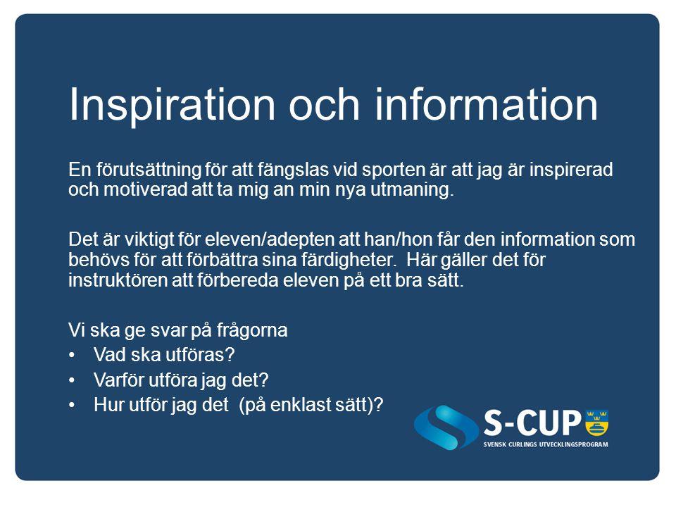 Inspiration och information En förutsättning för att fängslas vid sporten är att jag är inspirerad och motiverad att ta mig an min nya utmaning. Det ä