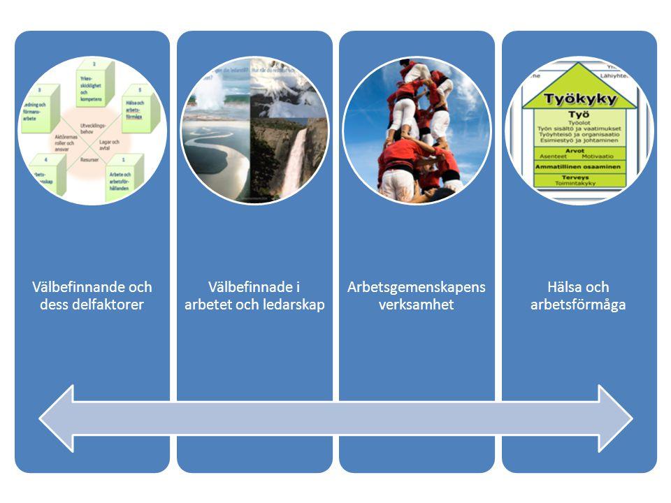 Välbefinnande och dess delfaktorer Välbefinnade i arbetet och ledarskap Arbetsgemenskapens verksamhet Hälsa och arbetsförmåga