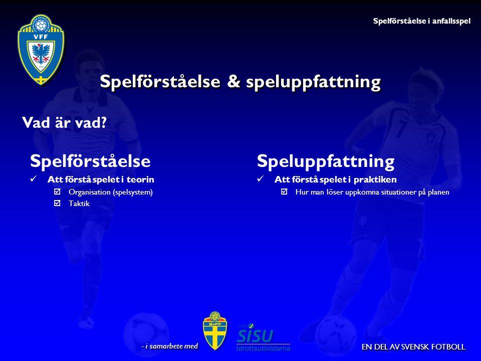 EN DEL AV SVENSK FOTBOLL Spelförståelse & speluppfattning Spelförståelse Att förstå spelet i teorin  Organisation (spelsystem)  Taktik Speluppfattni