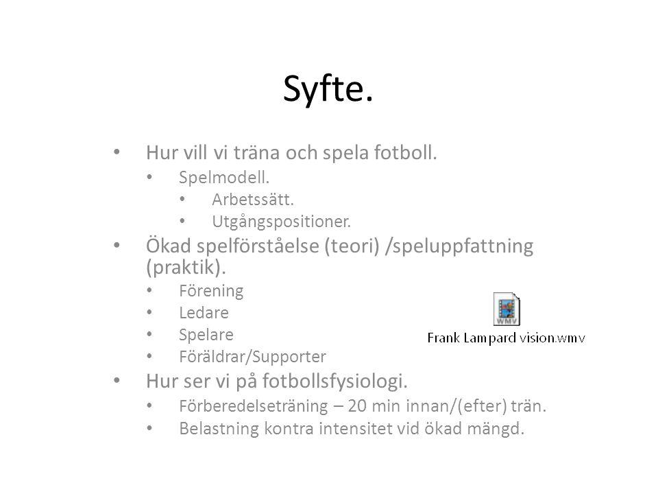 Syfte. Hur vill vi träna och spela fotboll. Spelmodell. Arbetssätt. Utgångspositioner. Ökad spelförståelse (teori) /speluppfattning (praktik). Förenin