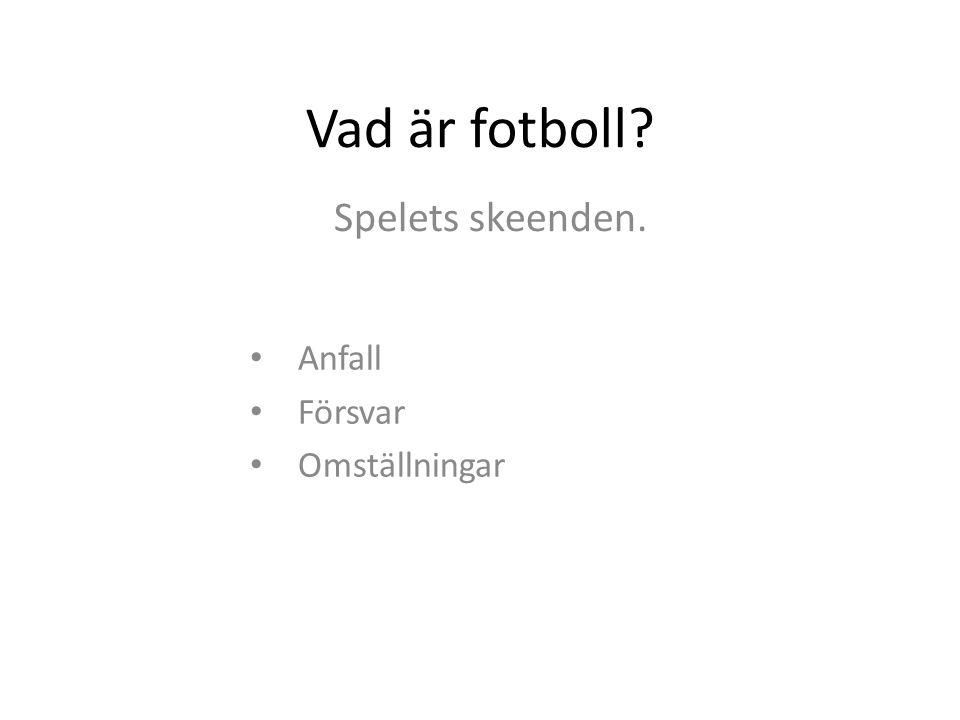 Vad är fotboll? Spelets skeenden. Anfall Försvar Omställningar