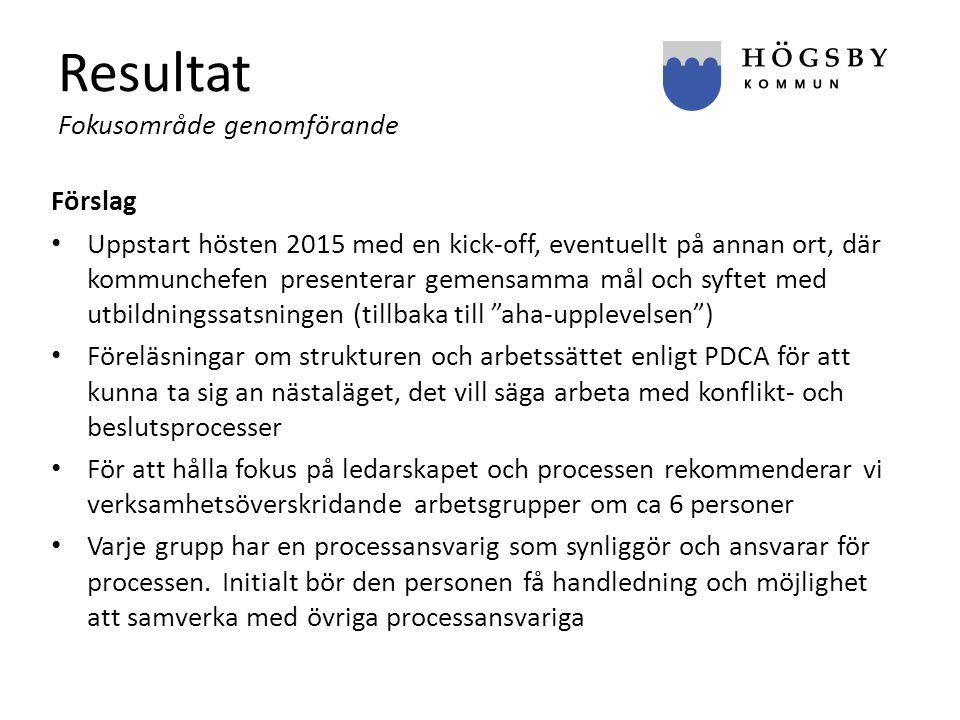 Resultat Fokusområde genomförande Förslag Uppstart hösten 2015 med en kick-off, eventuellt på annan ort, där kommunchefen presenterar gemensamma mål o