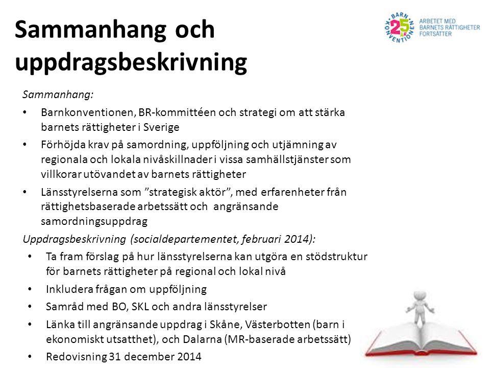 Sammanhang och uppdragsbeskrivning Sammanhang: Barnkonventionen, BR-kommittéen och strategi om att stärka barnets rättigheter i Sverige Förhöjda krav