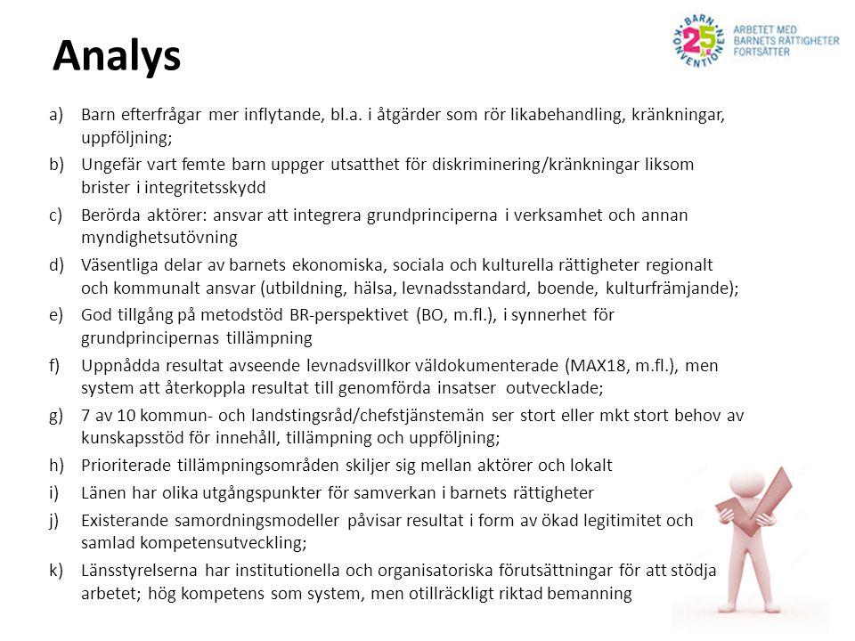 Analys a)Barn efterfrågar mer inflytande, bl.a. i åtgärder som rör likabehandling, kränkningar, uppföljning; b)Ungefär vart femte barn uppger utsatthe