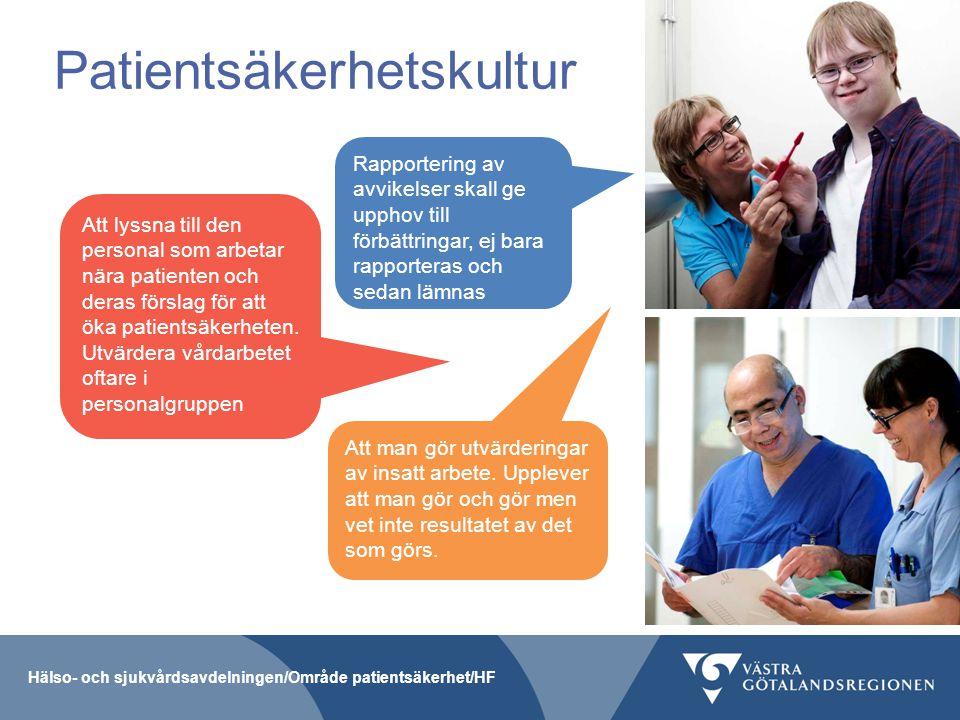 Hälso- och sjukvårdsavdelningen/Område patientsäkerhet/HF Patientsäkerhetskultur Rapportering av avvikelser skall ge upphov till förbättringar, ej bar