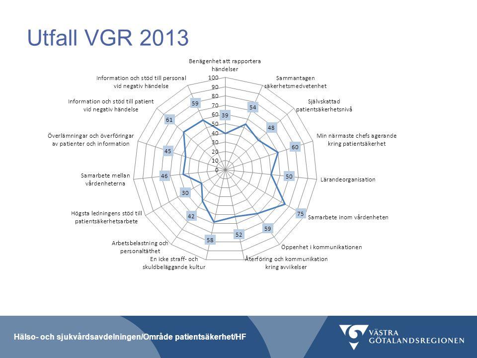 Utfall VGR 2013 Hälso- och sjukvårdsavdelningen/Område patientsäkerhet/HF