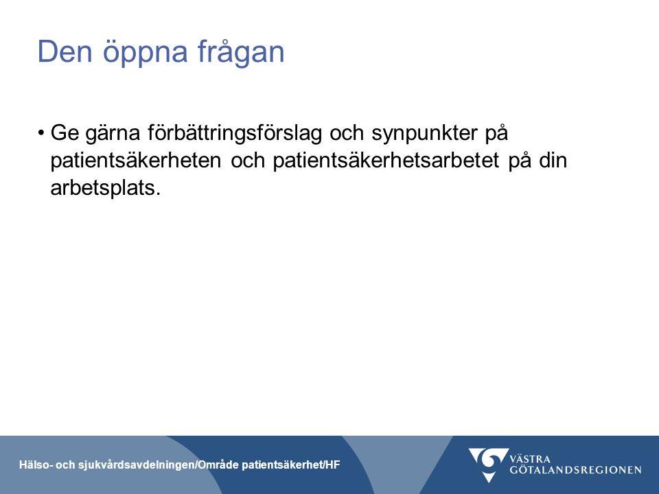 Den öppna frågan Ge gärna förbättringsförslag och synpunkter på patientsäkerheten och patientsäkerhetsarbetet på din arbetsplats. Hälso- och sjukvårds