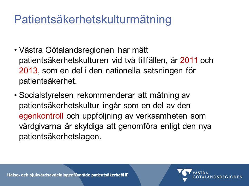 Patientsäkerhetskulturmätning Västra Götalandsregionen har mätt patientsäkerhetskulturen vid två tillfällen, år 2011 och 2013, som en del i den nation