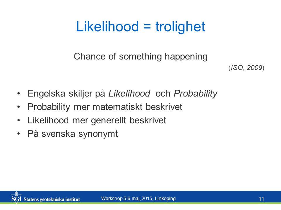 Workshop 5-6 maj, 2015, Linköping 11 Likelihood = trolighet Chance of something happening (ISO, 2009) Engelska skiljer på Likelihood och Probability P