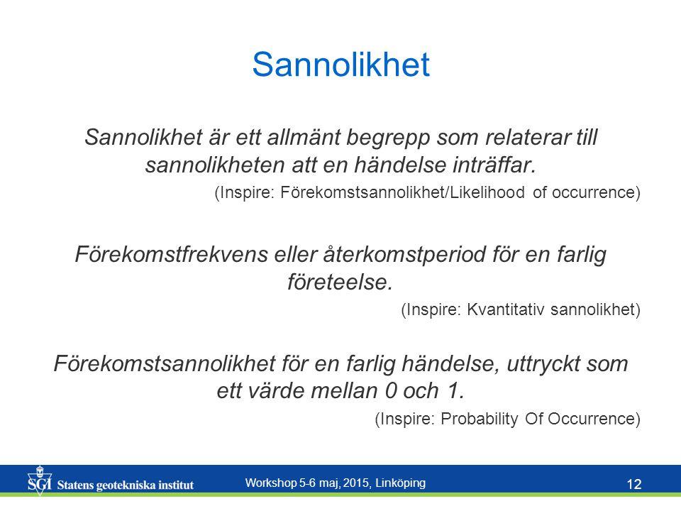 Workshop 5-6 maj, 2015, Linköping 12 Sannolikhet Sannolikhet är ett allmänt begrepp som relaterar till sannolikheten att en händelse inträffar. (Inspi