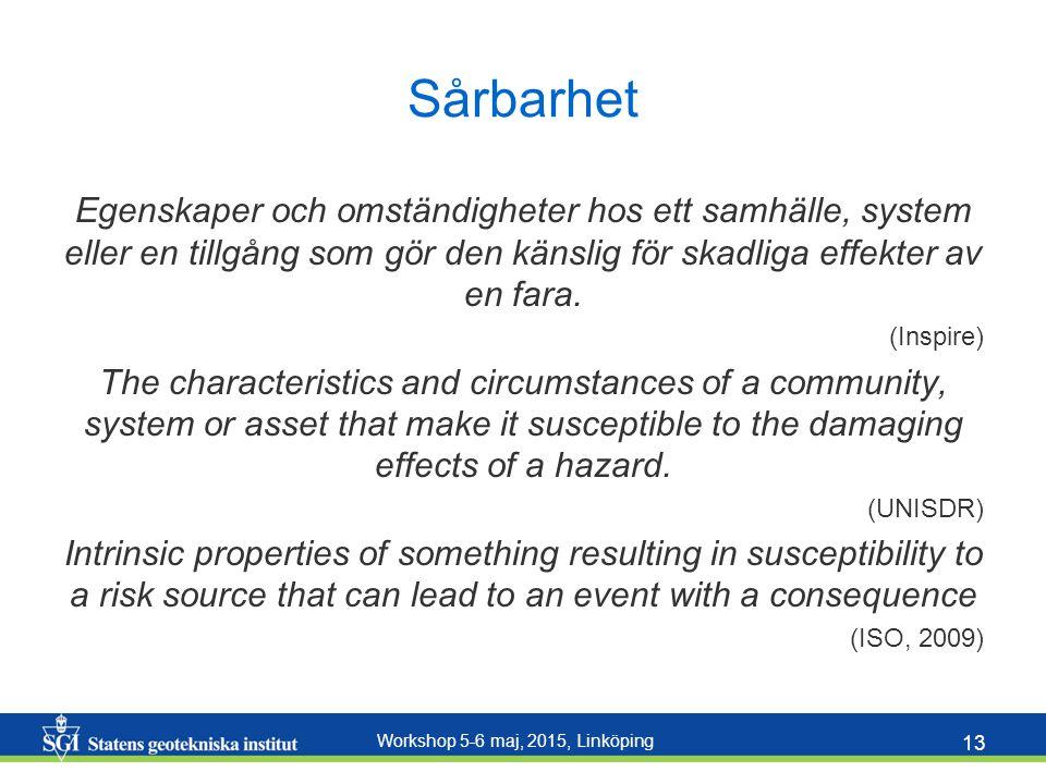 Workshop 5-6 maj, 2015, Linköping 13 Sårbarhet Egenskaper och omständigheter hos ett samhälle, system eller en tillgång som gör den känslig för skadli