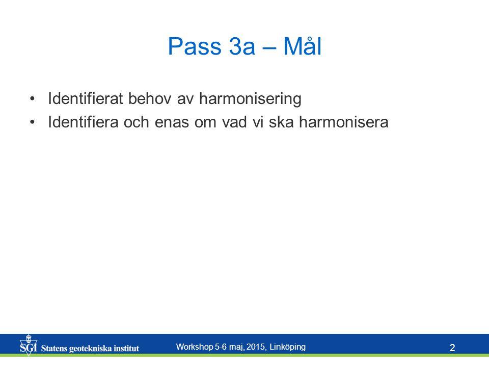 Workshop 5-6 maj, 2015, Linköping 2 Pass 3a – Mål Identifierat behov av harmonisering Identifiera och enas om vad vi ska harmonisera