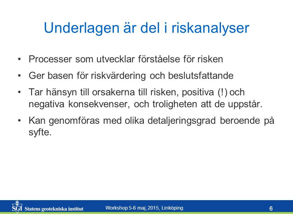 Workshop 5-6 maj, 2015, Linköping 6 Underlagen är del i riskanalyser Processer som utvecklar förståelse för risken Ger basen för riskvärdering och bes