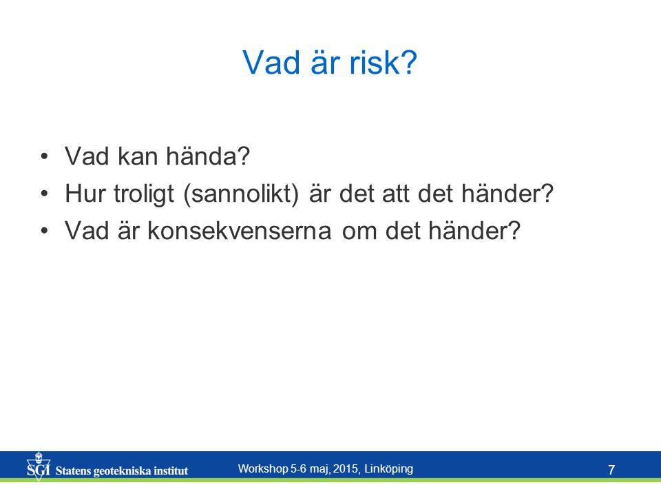 Workshop 5-6 maj, 2015, Linköping 7 Vad är risk? Vad kan hända? Hur troligt (sannolikt) är det att det händer? Vad är konsekvenserna om det händer?