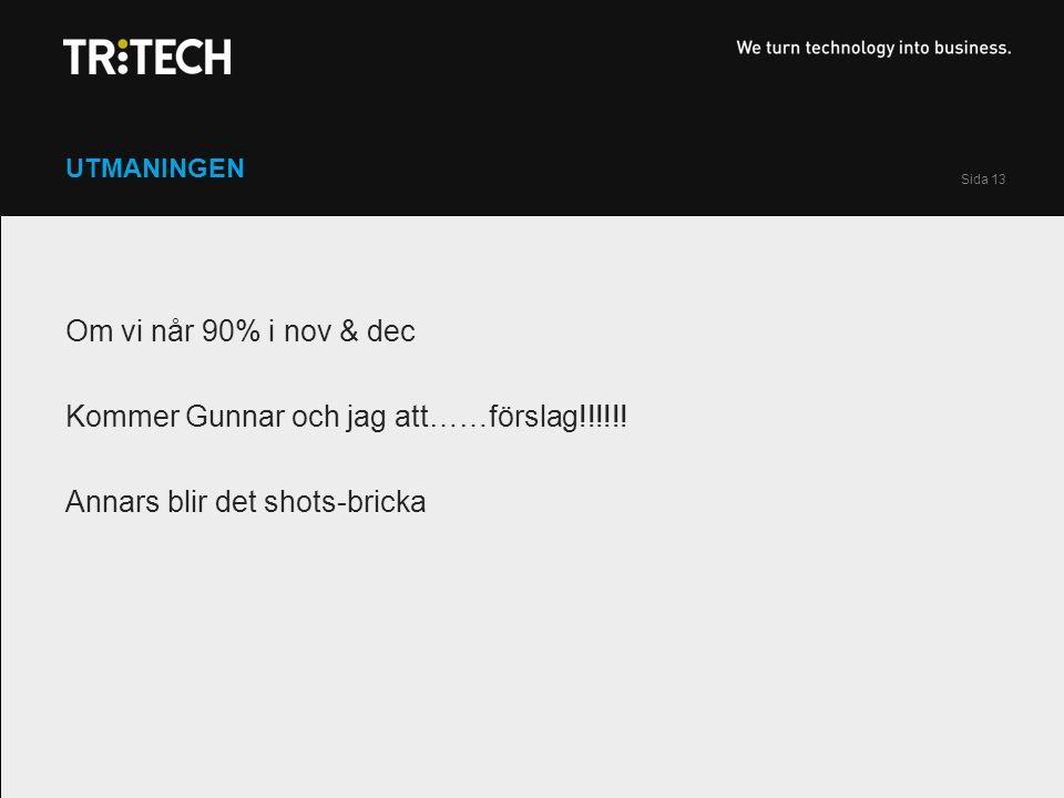 Sida 13 UTMANINGEN Om vi når 90% i nov & dec Kommer Gunnar och jag att……förslag!!!!!.