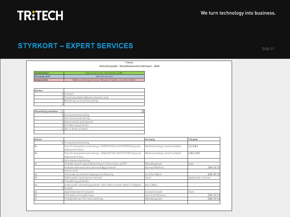 Sida 31 STYRKORT – EXPERT SERVICES
