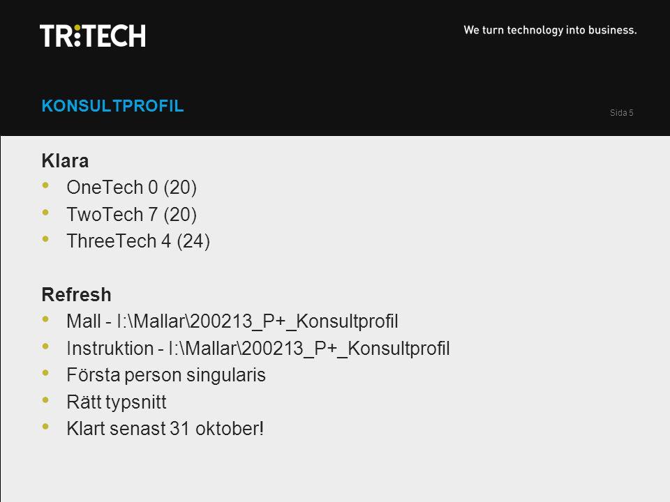 Sida 5 KONSULTPROFIL Klara OneTech 0 (20) TwoTech 7 (20) ThreeTech 4 (24) Refresh Mall - I:\Mallar\200213_P+_Konsultprofil Instruktion - I:\Mallar\200213_P+_Konsultprofil Första person singularis Rätt typsnitt Klart senast 31 oktober!