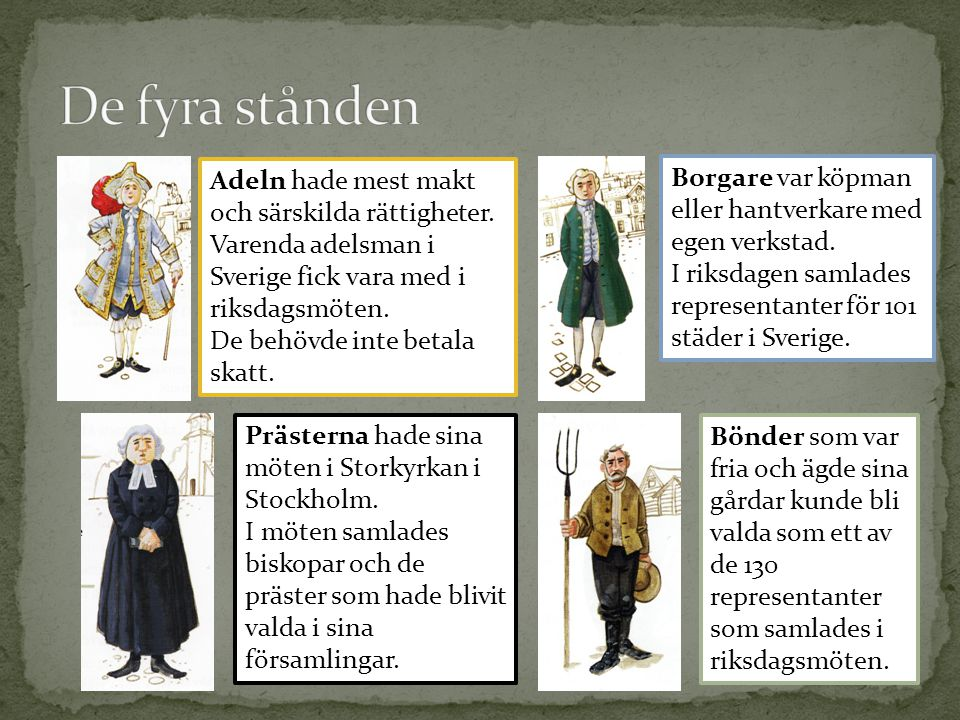 Borgare var köpman eller hantverkare med egen verkstad. I riksdagen samlades representanter för 101 städer i Sverige. Adeln hade mest makt och särskil