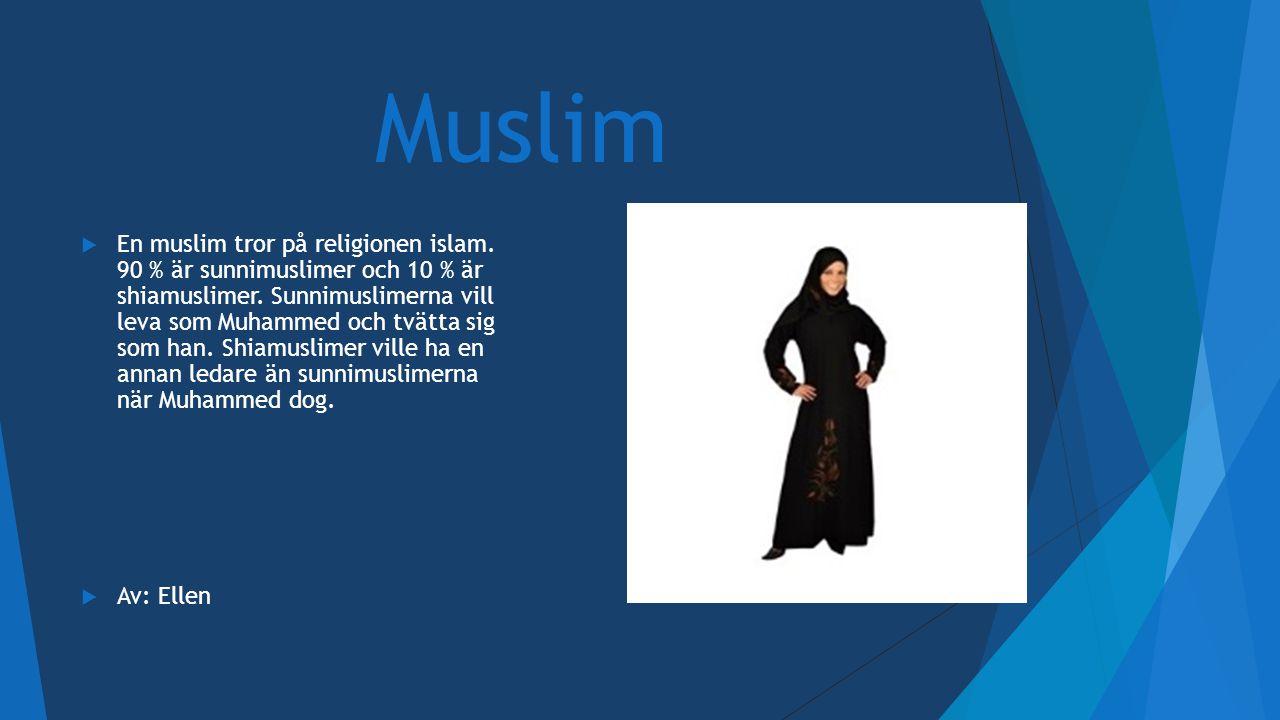 Muslim  En muslim tror på religionen islam. 90 % är sunnimuslimer och 10 % är shiamuslimer. Sunnimuslimerna vill leva som Muhammed och tvätta sig som