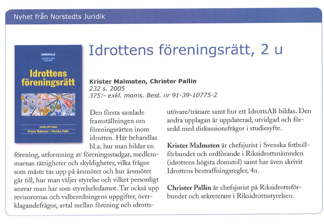 © Christer Pallin, RF-Juridik 24