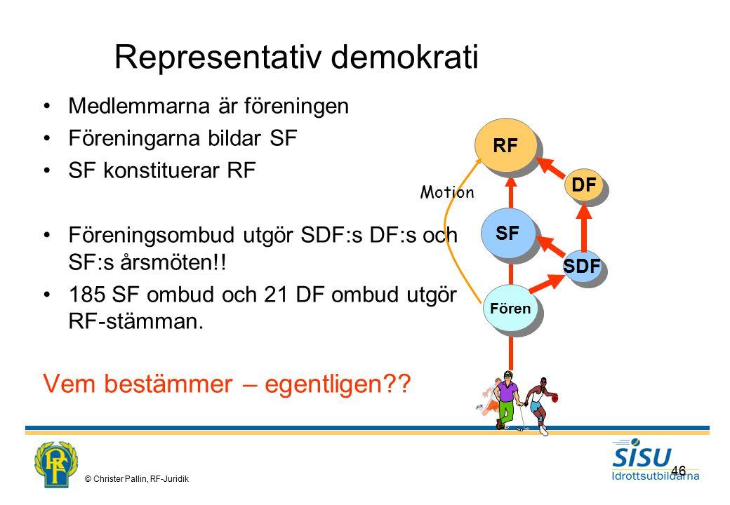 © Christer Pallin, RF-Juridik 46 Representativ demokrati Medlemmarna är föreningen Föreningarna bildar SF SF konstituerar RF Föreningsombud utgör SDF:s DF:s och SF:s årsmöten!.