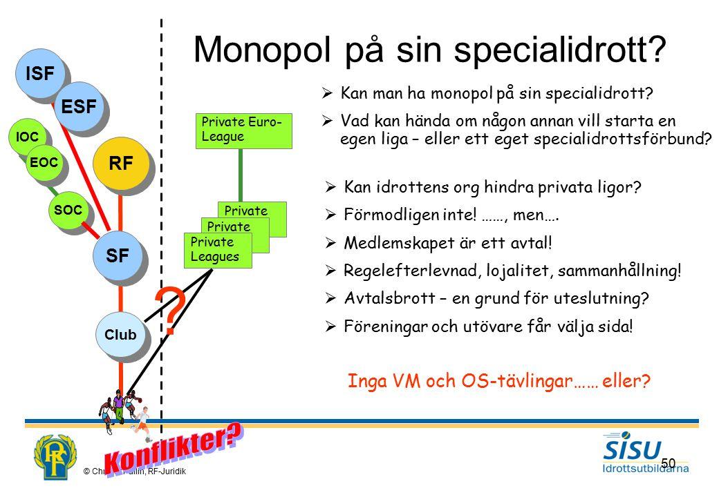 © Christer Pallin, RF-Juridik 50 Monopol på sin specialidrott.