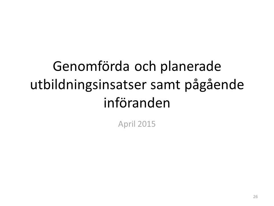 Genomförda och planerade utbildningsinsatser samt pågående införanden April 2015 26
