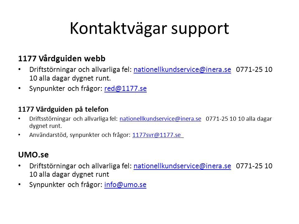 Kontaktvägar support Hitta och jämför vård Driftstörningar, allvarliga fel, synpunkter och frågor: nationellkundservice@inera.se 0771-25 10 10 alla dagar dygnet runt.nationellkundservice@inera.se Mina vårdkontakter Driftstörningar, allvarliga fel, synpunkter och frågor: minavardkontakter@sll.se 08-123 135 25 – Vårdgivarsupport, 08-123 135 00 – Invånarsupport alla dagar kl.