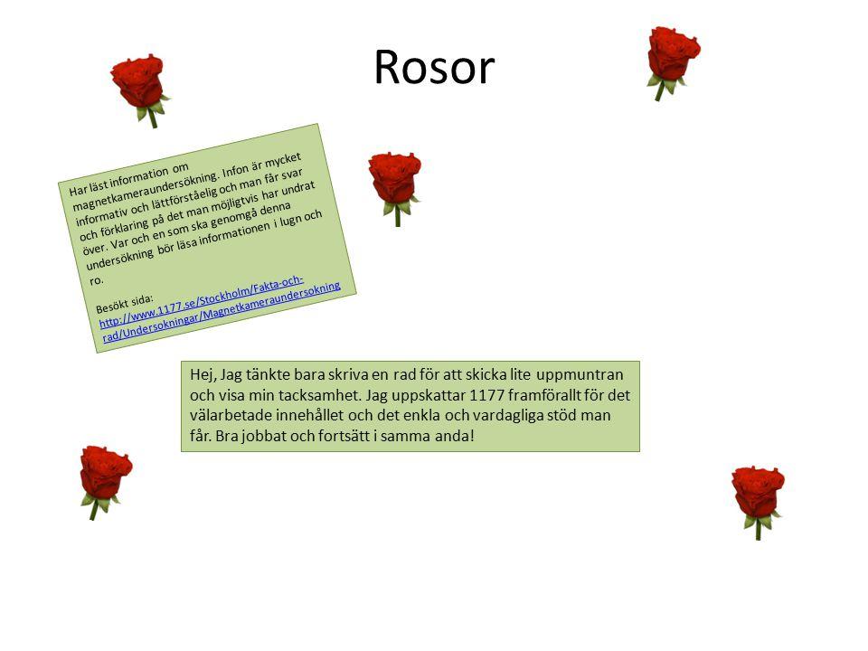Rosor Har läst information om magnetkameraundersökning. Infon är mycket informativ och lättförståelig och man får svar och förklaring på det man möjli