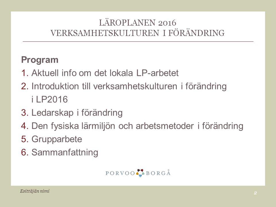 LÄROPLANEN 2016 VERKSAMHETSKULTUREN I FÖRÄNDRING Program 1.Aktuell info om det lokala LP-arbetet 2.Introduktion till verksamhetskulturen i förändring i LP2016 3.Ledarskap i förändring 4.Den fysiska lärmiljön och arbetsmetoder i förändring 5.Grupparbete 6.Sammanfattning Esittäjän nimi 2