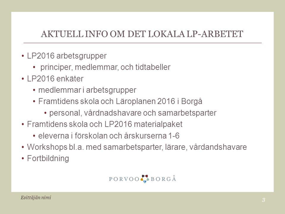 AKTUELL INFO OM DET LOKALA LP-ARBETET LP2016 arbetsgrupper principer, medlemmar, och tidtabeller LP2016 enkäter medlemmar i arbetsgrupper Framtidens skola och Läroplanen 2016 i Borgå personal, vårdnadshavare och samarbetsparter Framtidens skola och LP2016 materialpaket eleverna i förskolan och årskurserna 1-6 Workshops bl.a.