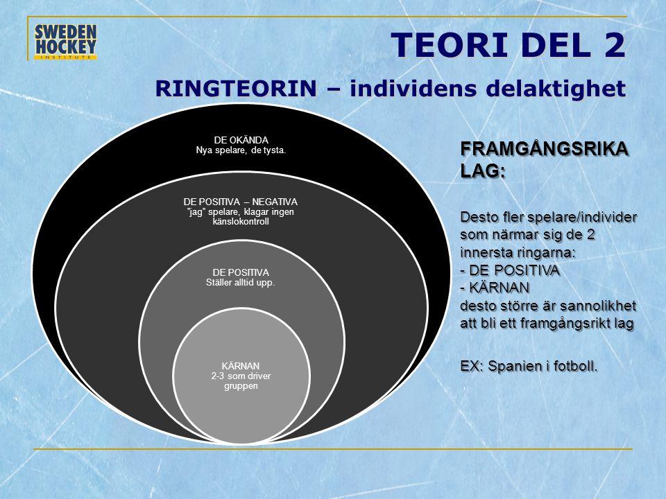 """TEORI DEL 2 RINGTEORIN – individens delaktighet DE OKÄNDA Nya spelare, de tysta. DE POSITIVA – NEGATIVA """"jag"""" spelare, klagar ingen känslokontroll DE"""