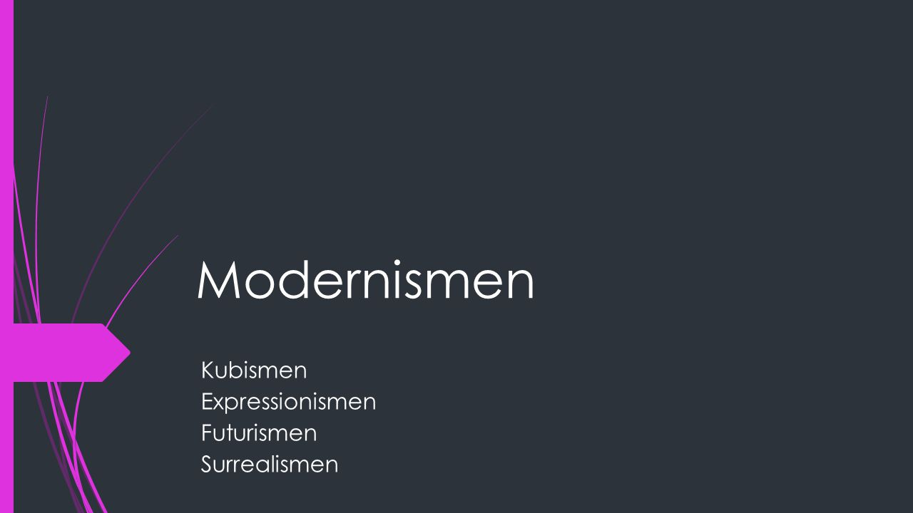 Modernismen Kubismen Expressionismen Futurismen Surrealismen