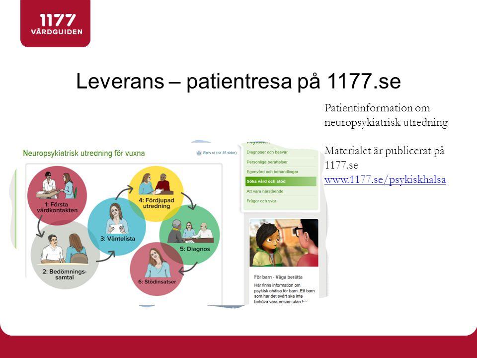 Leverans – patientresa på 1177.se Patientinformation om neuropsykiatrisk utredning Materialet är publicerat på 1177.se www.1177.se/psykiskhalsa www.1177.se/psykiskhalsa