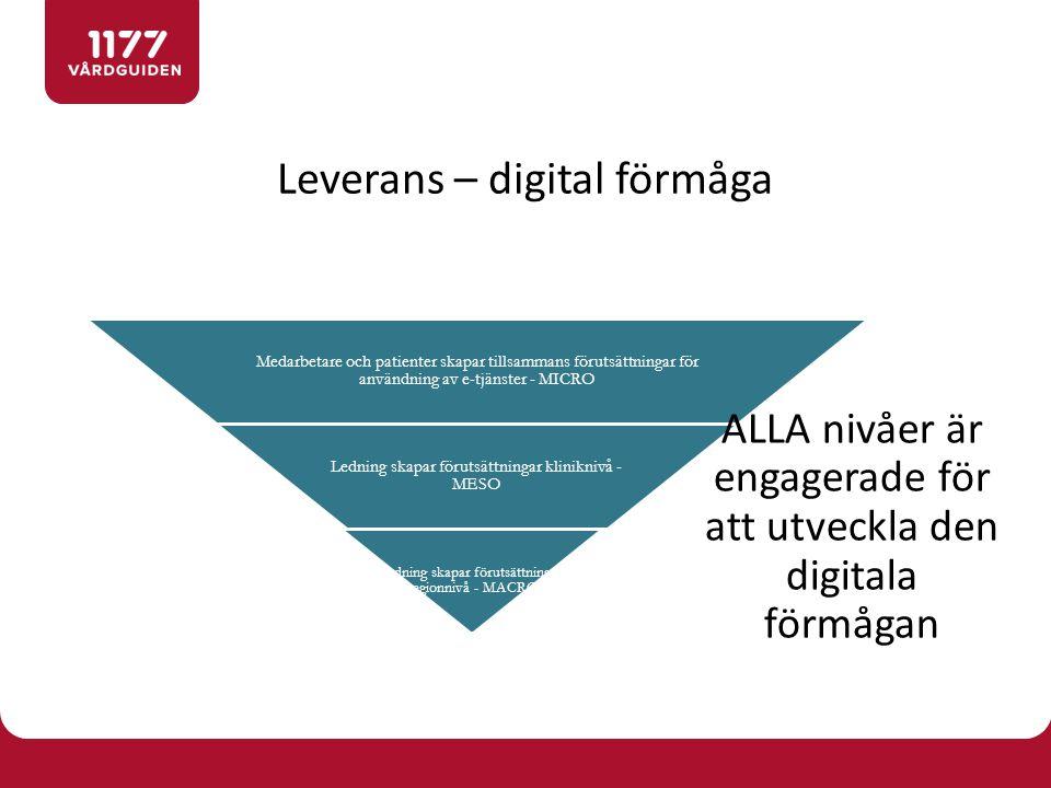 Leverans – digital förmåga Medarbetare och patienter skapar tillsammans förutsättningar för användning av e-tjänster - MICRO Ledning skapar förutsättningar kliniknivå - MESO Ledning skapar förutsättningar regionnivå - MACRO ALLA nivåer är engagerade för att utveckla den digitala förmågan