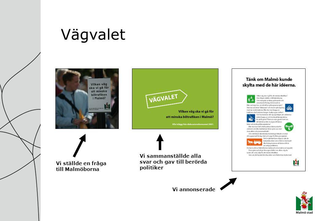 Vägvalet Vi ställde en fråga till Malmöborna Vi sammanställde alla svar och gav till berörda politiker Vi annonserade