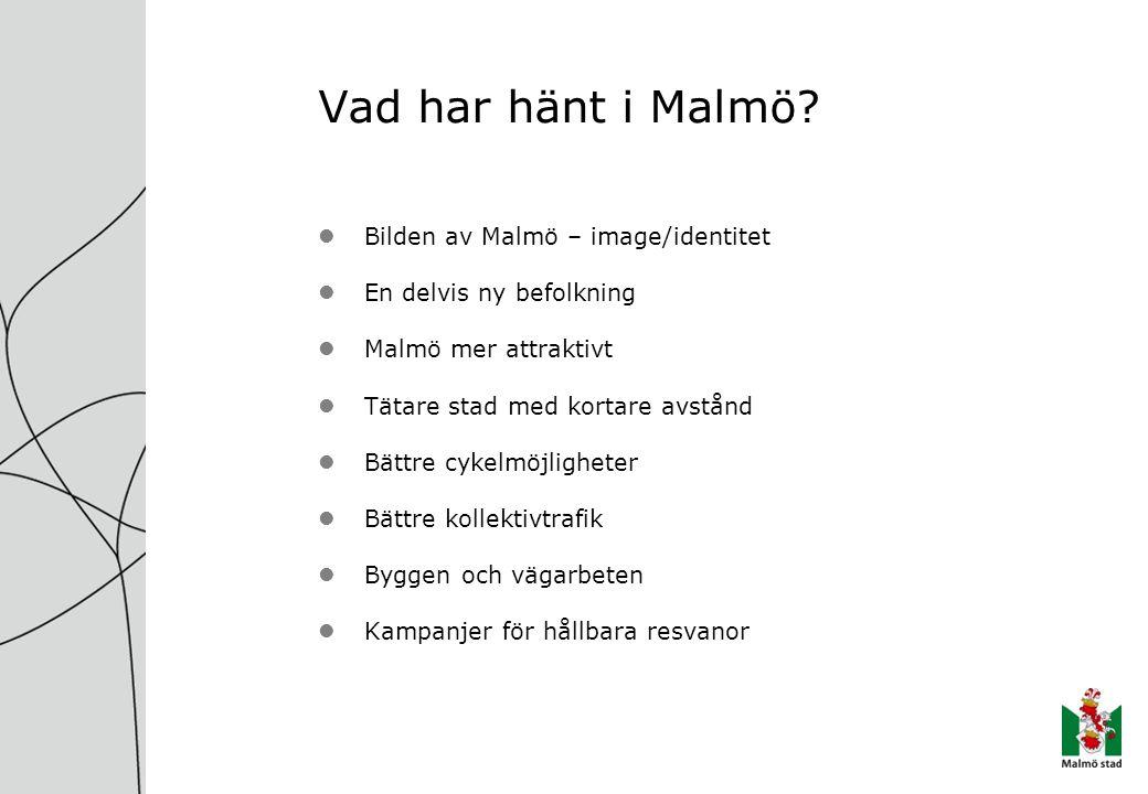 Vad har hänt i Malmö? Bilden av Malmö – image/identitet En delvis ny befolkning Malmö mer attraktivt Tätare stad med kortare avstånd Bättre cykelmöjli