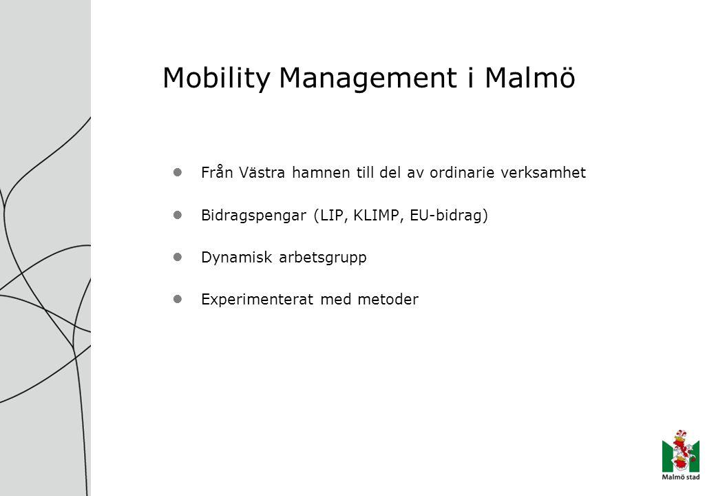 Mobility Management i Malmö Från Västra hamnen till del av ordinarie verksamhet Bidragspengar (LIP, KLIMP, EU-bidrag) Dynamisk arbetsgrupp Experimenterat med metoder